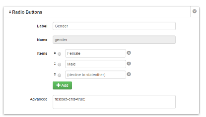 Form Elements, Advanced Field in Form Builder – Web