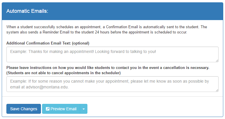 How do I customize the message in student emails in the Appointment